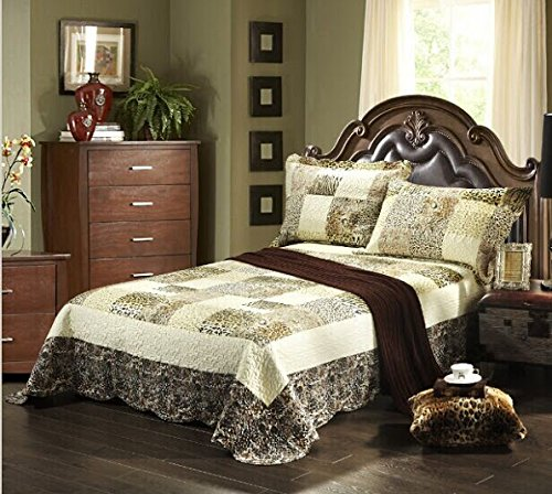 Tache 3 Piece Cruelty Free Wild Safari Bedspread Reversible Bedspread Quilt Set, Queen