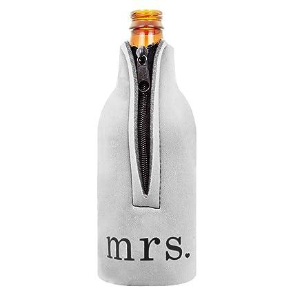 2pcs Botella De Vino De La Cerveza Más Fría Envoltura De Manguito Del Sujetador Postal Favor De La Boda Mr. Señora.: Amazon.es: Hogar