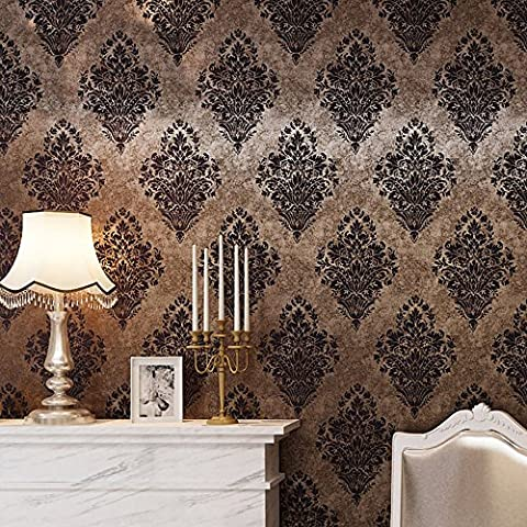 HaokHome 8505 Vintatge Luxury Damask Wallpaper Rolls Bronze/Brown Frech Wall Paper Home Bedroom Interior Decoration 20.8