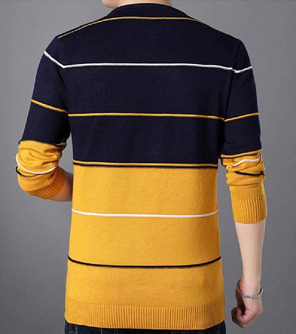 omniscient Men Casual Knitted Sweater Crewneck Slim Fashion Athletic Tops