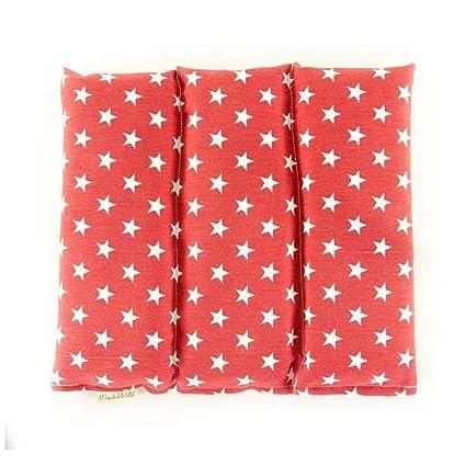 Saco Térmico de Semillas aroma Lavanda, Azahar o Romero tejido Rojo con Estrellas (Lavanda, 26 x 28 x 2 cm)