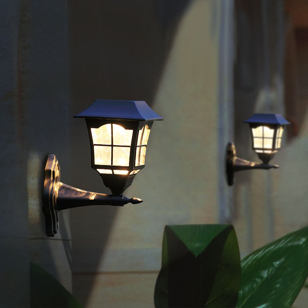 Maggift solar wall lantern outdoor wall sconce solar outdoor led maggift solar wall lantern outdoor wall sconce solar outdoor led light fixture with wall mount kit 2 pack aloadofball Image collections