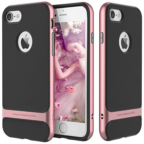 iPhone 7 Case, ROCK [Royce] - Black & Rose Gold [Ultra Thin][Heavy Duty][Metal Texture Side Buttons][Dual Layered][Slim Fit][Hard PC + Soft TPU] For Apple iPhone 7 (2016)