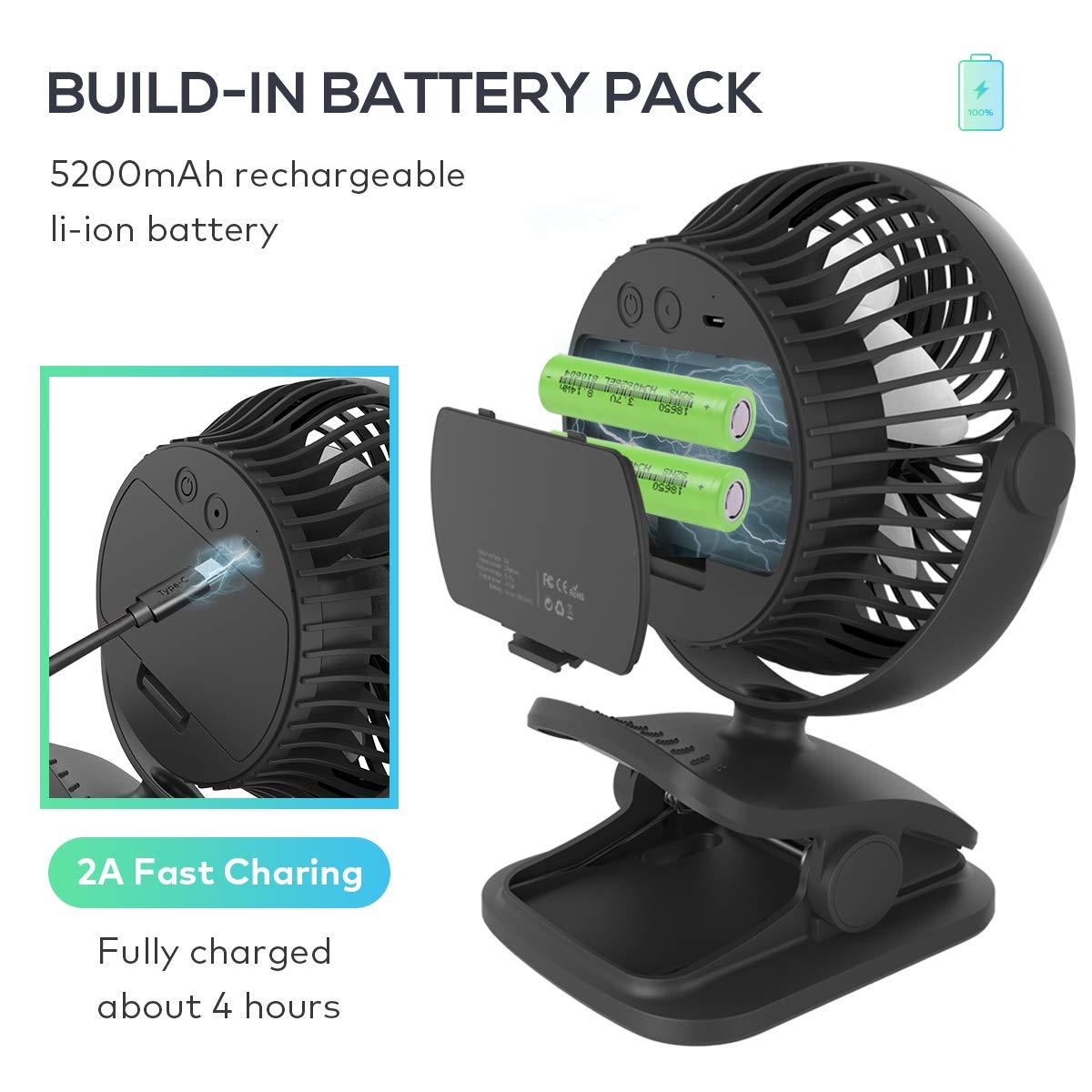 LEMOISTAR Battery Operated Clip on Stroller Fan 5200mAh , Rechargeable Battery USB Powered Desk Fan Small Portable Personal Fan for Baby Stroller, Office, Home, Dorm, Camping etc