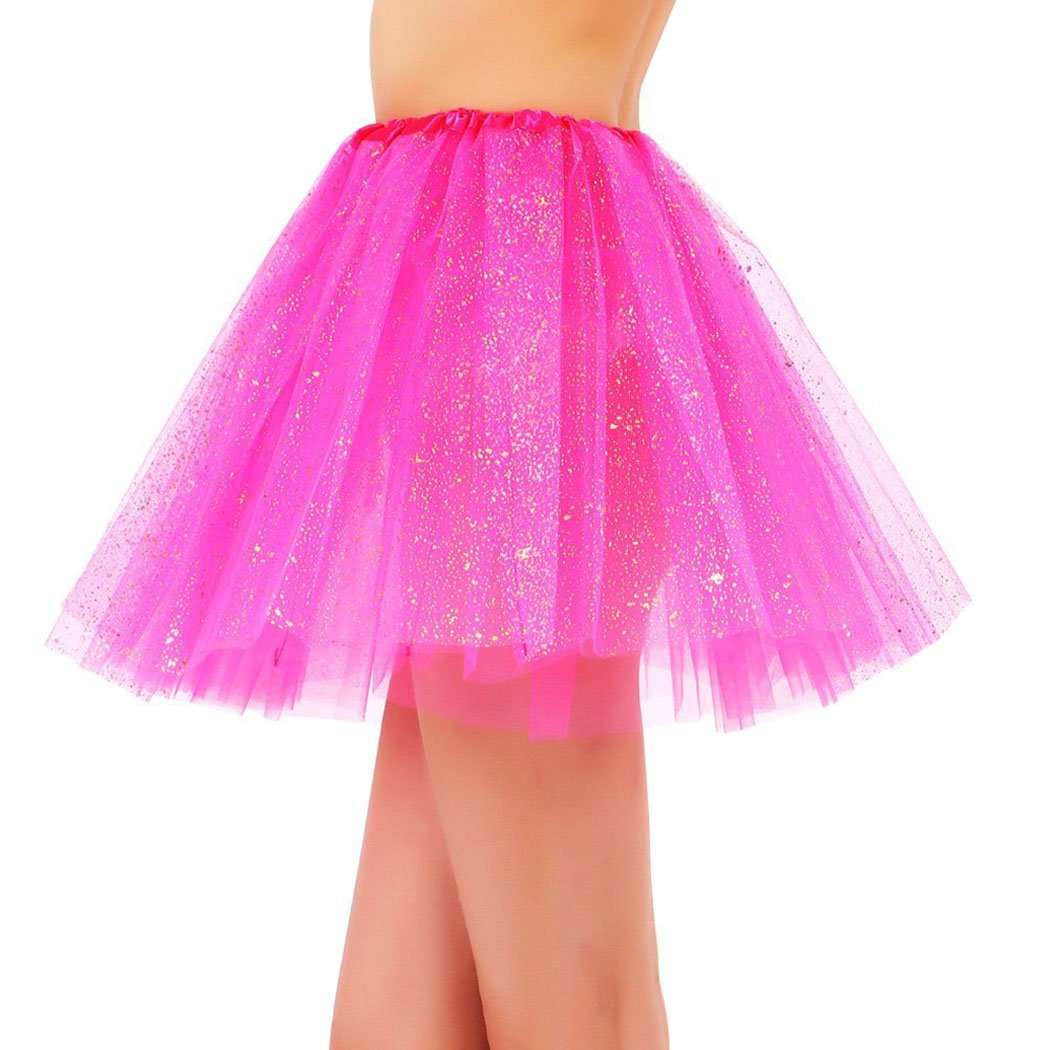 Womens 3 Layered Pastel Colored Fairy Princess Elastic Tulle Skirt Rose Tutu