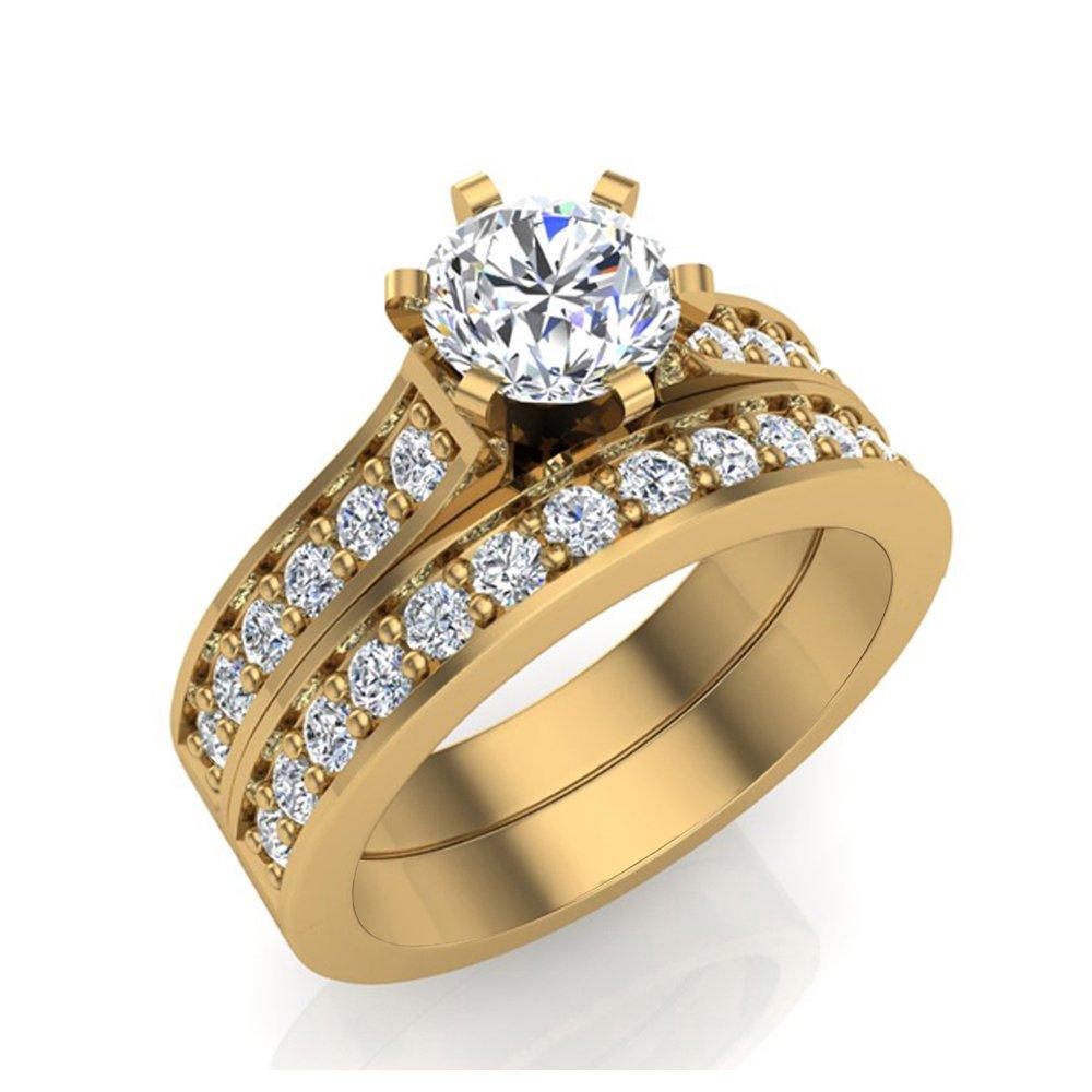 1.10 ct tw J I1-I2 Diamond Wedding Ring Set 14K Yellow Gold (Ring Size 8) by Glitz Design