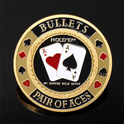 Metal Poker Guard Card Protector Coin Chip Gold Color Plated With Round Plastic Case