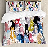 Abstract Home Decor Queen Size Duvet Cover Set by Ambesonne, Pattern with Colourful Cartoon Horses Pony Childhood Childish Artwork, Decorative 3 Piece Bedding Set with 2 Pillow Shams