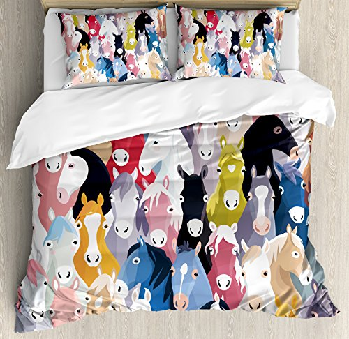 Abstract Home Decor Queen Size Duvet Cover Set by Ambesonne, Pattern with Colourful Cartoon Horses Pony Childhood Childish Artwork, Decorative 3 Piece Bedding Set with 2 Pillow Shams by Ambesonne