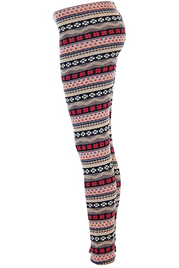 0f0a0daad8d06b Amazon.com: Ugly SNOWFLAKES Pattern PINK and GRAY Christmas Leggings:  Clothing