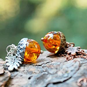 Enchanted Leaves -Custom Chain Length- Amber Acorn Necklace - Man Made Amber - Silver OR Copper - Cute Nature Charm Necklace