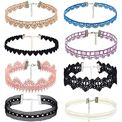 Clearance Deals 8Pcs Lace Choker Set Women Girl Classic Gothic Tattoo Necklaces Stretch Velvet Lace Choker by ZYooh
