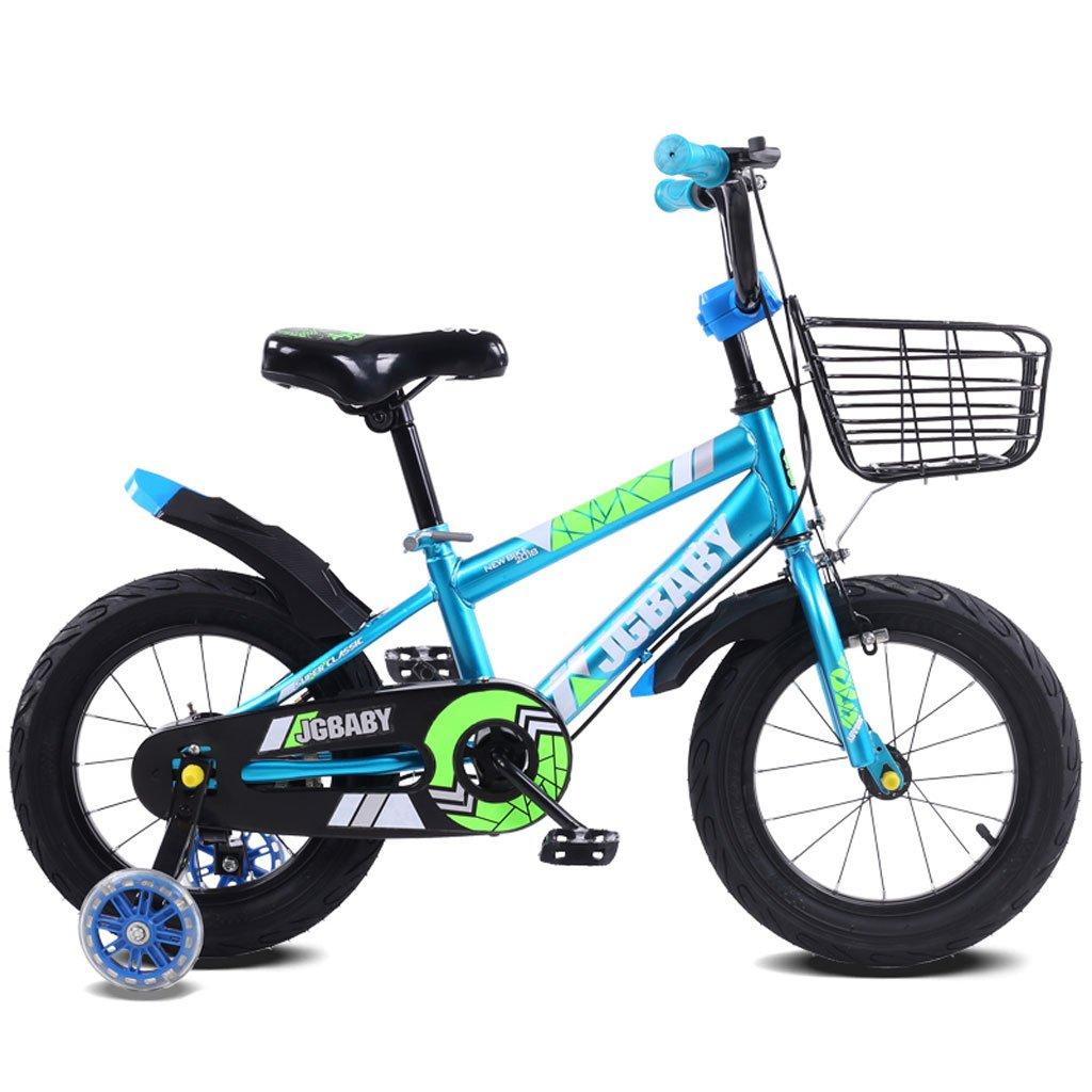 子供の自転車2-5-8歳の男性と女性のベビーベビーカー12インチ/ 14インチ/ 16インチの子供の三輪自転車の青 ( Size : 14 inches ) B07DPPML7X