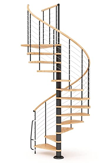 Escalera de caracol de madera mobirolo Vogue Natural y negro ...