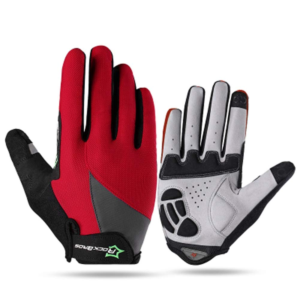 AINIYF Full Finger Gloves | Spring And Autumn Winter Full Fingers Gloves Touch Screen Anti-Slip Full Finger Motorcycle Gloves Cycling Equipment (Color : Red, Size : L)