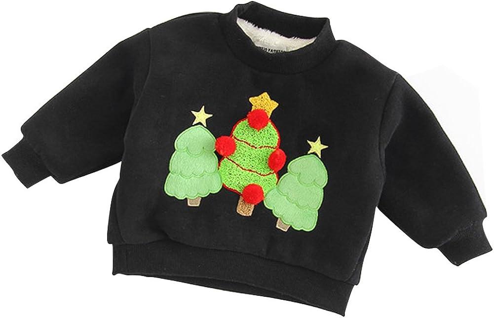 Baywell Christmas Sweater Girls Boys Christmas Pattern Towel Embroidery Sweatshirt