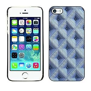 FECELL CITY // Duro Aluminio Pegatina PC Caso decorativo Funda Carcasa de Protección para Apple Iphone 5 / 5S // Checkered Pattern 3D Blue