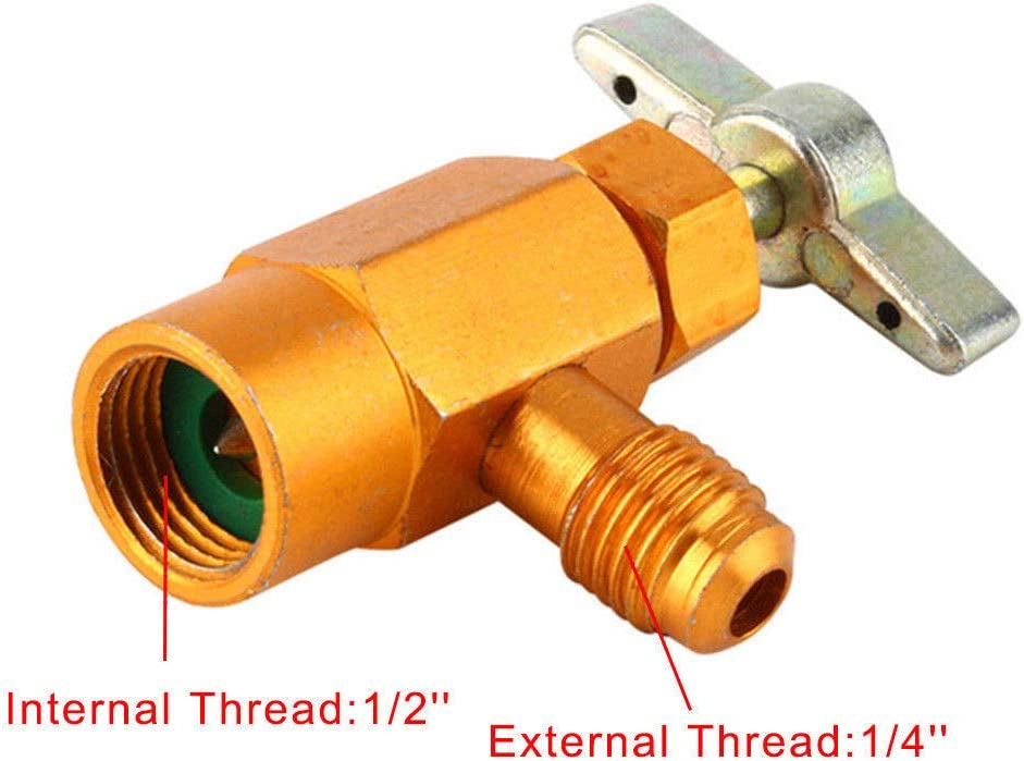 """AC R134a Refrigerant Can Bottle Tap Tapper Opener Connector 1//4/"""" SAE M16 Valve"""