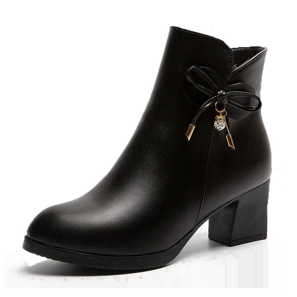 YAN Damenmode Stiefel PU (Polyurethan) Winter Stiefel Chunky Heel Closed Toe Stiefelies Ankle Stiefel Kleid Schuhe