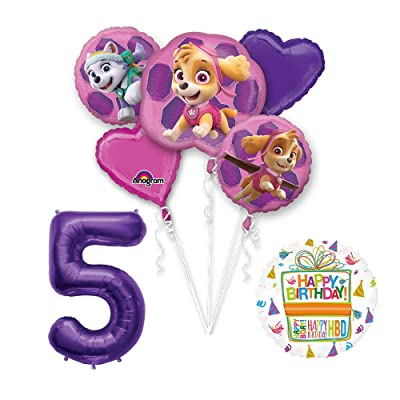 Paw Patrol Skye & Everest 5th Birthday Party Balloons Decoration Supplies Chase Ryder: Toys & Games