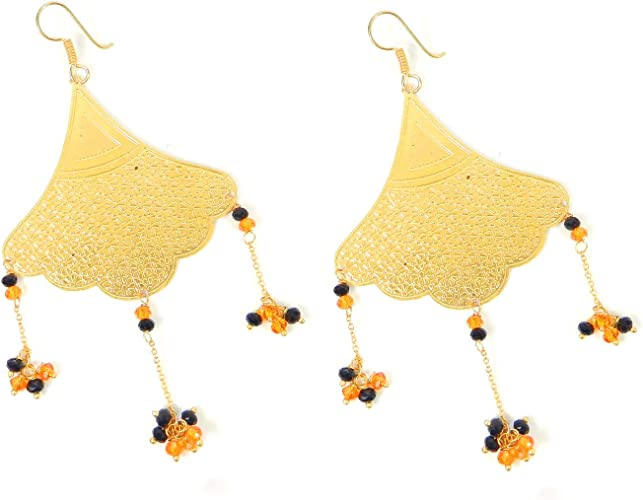 18 Carat Gold Plated Earring Dangle Earrings Chinese Pearl and Glass Beads Wedding Jewelry Shilpi Impex Laser Cut Earrings Handmade Unique Earrings Light Weight Earrings