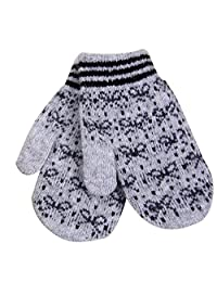 Fashion Winter Women's Mittens Bow Gloves Jacquard Cashmere,Gray