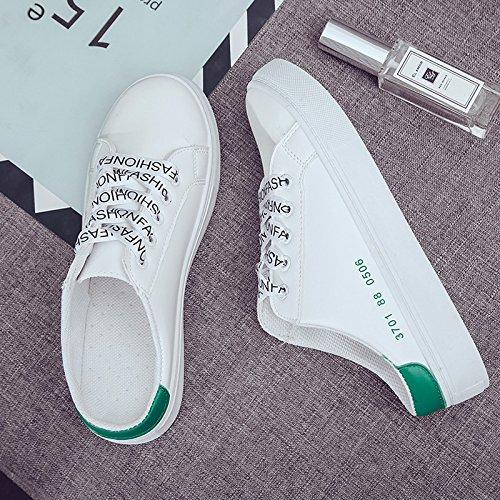 perezoso plano de el mujer coreana talón la medio zapatillas Patear 37 los de tomar zapatos negro 39 versión sin Baotou green drag qAF5wxf