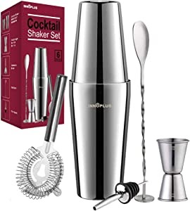 Cocktail Shaker, Martini Shaker, Drink Shaker, Cocktail Shaker Set 6 Piece, Boston Shaker, Bar Set, Cocktail Strainer, Bar tools, Bartender Kit, Stainless Steel Double Measuring Jigger, Mixing Spoon