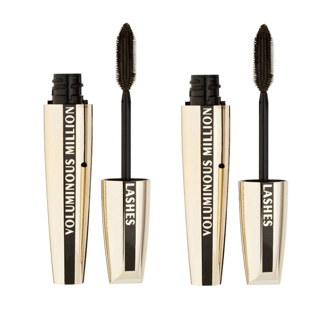 72ddf255cad Amazon.com : L'Oréal Paris Voluminous Million Lashes Mascara, 620 Carbon  Black (Pack of 2) : Loreal Voluminous Mascara : Beauty