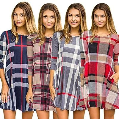 DesirePath Womens Loose Plaid Print 3/4 Sleeve Casual Swing Mini Shirt Dress With Pockets