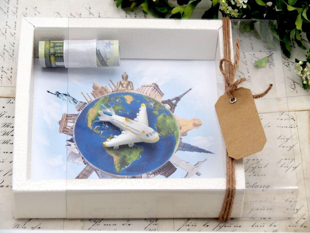 Zauberdeko Geldgeschenk Verpackung Reise Urlaub Weltreise Flugzeug