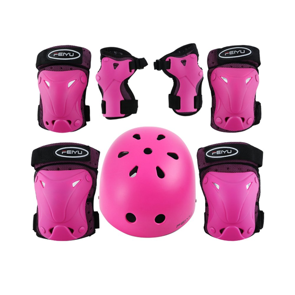 Weanas Kids Youth Adjustable Sports Protective Gear Set, Safety Pad Safeguard (Helmet Knee Elbow Wrist Pads) (Pink Helmet Set S, 60-90 pounds Kids)