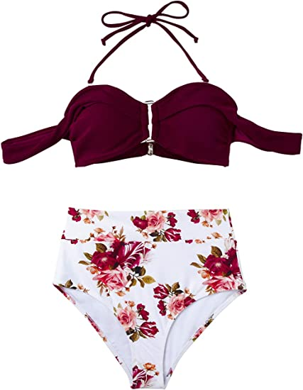 Red floral high waisted bikini
