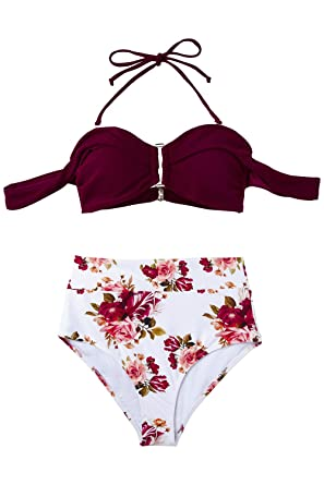 15f498f792 Amazon.com: CUPSHE Women's Romantic Red Floral Off Shoulder High Waisted  Bikini: Clothing