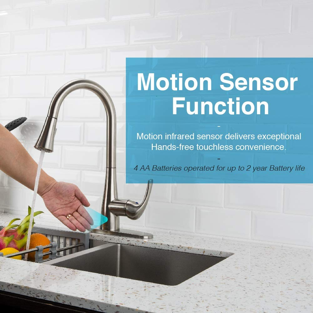 Touchless Kitchen Faucet with Pull Down Sprayer, Kitchen Sink Faucet with Pull Out Sprayer, Single Hole and 3 Hole Deck Mount, Single Handle For Automatic Motion Sensor, Brushed Nickel, FORIOUS by FORIOUS (Image #2)