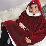 Ultra Plüschdecke Hoodie Übergroße Dicke Sweatshirt Warme bequeme lange dicke Giant Hooded Robe Pullover mit großer Tasche für Erwachsene Mann Frau wie im Fernsehen gesehen - Burgund