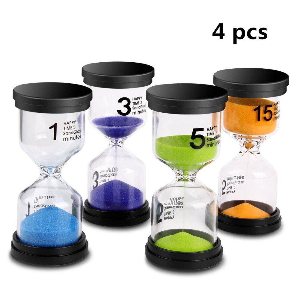UNIAI Sand Timer, 4 Colors Hourglass Sandglass Sand Clock Timer 1min/3mins/5mins/15mins/ for Classroom Game Home Office Decoration (4pcs)