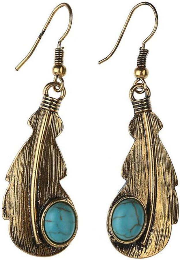 Nikgic Pendientes de gancho de aleación de hojas esmeriladas turquesa pendientes para mujeres niñas, Aleación, dorado, 6,5 cm