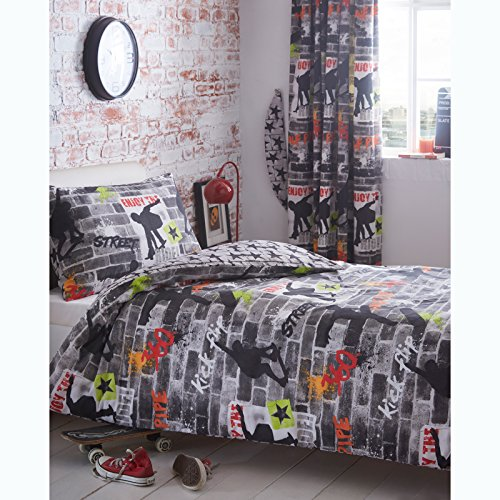 Kidz Club Teenagers Single Bed Duvet Cover and Pillowcase Bedding Bed Set Cool Skateboards and Graffiti Quilt Cover Set - Tricks, Grey