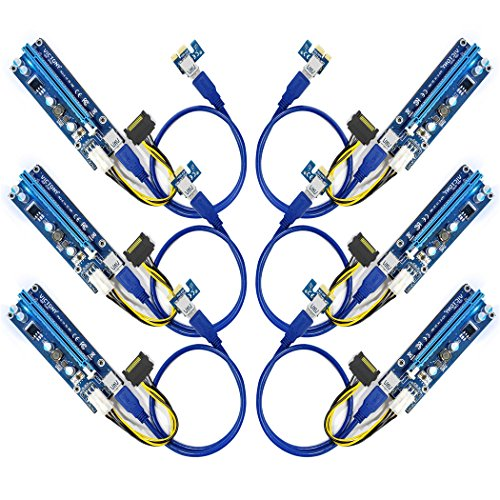 VICTONY 6-Pack PCIE Riser 1X To 16X Graphics Extension for GPU Mining Powered Riser Adapter Card, 6pin MOLEX to SATA Power Cable for Ethereum Bitcoin Litecoin Ubit Device, GPU Riser Adapter Vga Install Kits