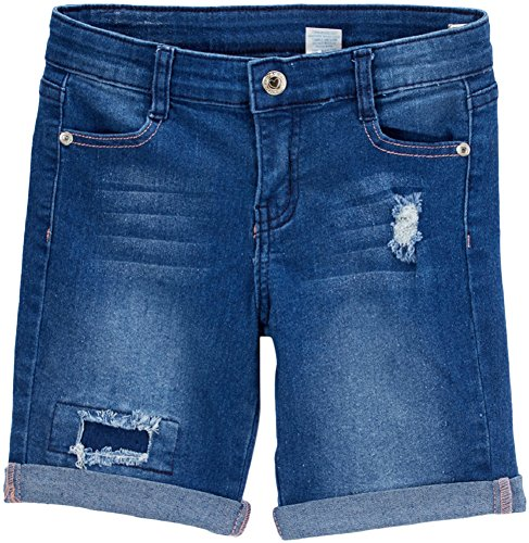 ToBeInStyle Girl's Denim Mini Shorts - Bermuda Distressed Mid Wash - 12