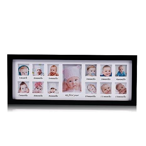Mi primer año bebé marco de fotos bebé recién nacido recuerdo marco kit madera niños pared