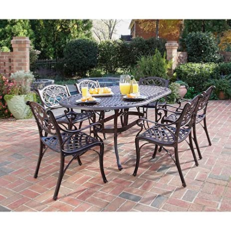 Home Styles 5555 338 Biscayne 7 Piece Outdoor Dining Set, Rust Bronze Finish
