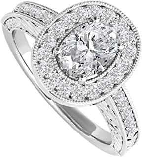 Oval CZ Engagement Ring Sterling Silver 2 CT TGW