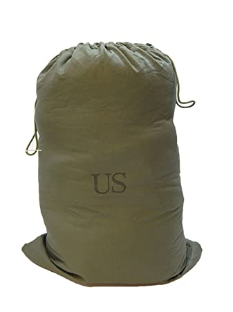 US Military Barracks Cotton Canvas Laundry Bag, Olive Green