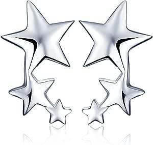 Yumilok - Pendientes Pequeños de Plata de ley 925 Estrellas para Mujer, Chicas