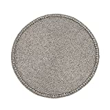 Saro LifeStyle 691.PW15R  Glass Beaded Placemat, Pewter, 15'' (Set of 4 pcs)