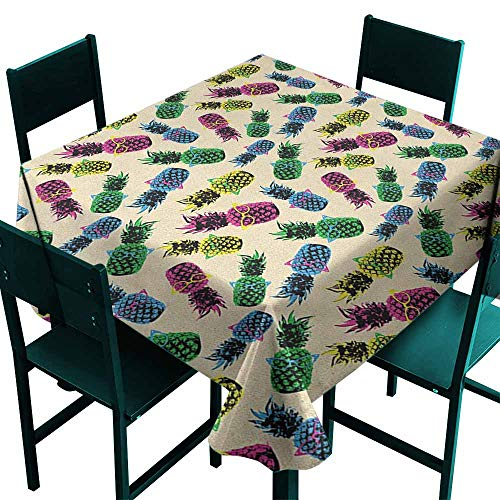 (Sunnyhome Square Table Cloth Indie Retro 80s Summer Pattern Tropical Fruit Pineapple Vintage Glasses in Vibrant Colors for Banquet Decoration Dining Table Cover 70x70 Inch Multicolor)