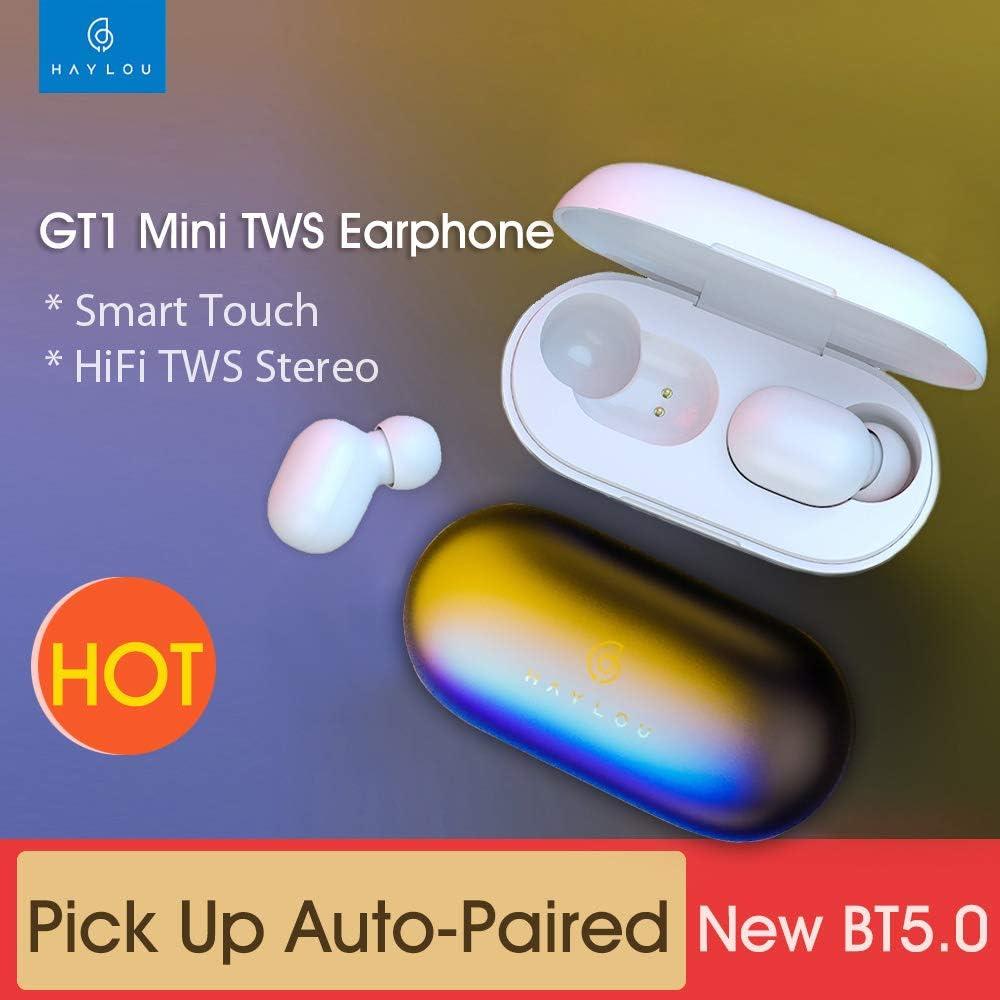 Docooler Haylou GT1 Pro TWS Wireless Earphones Fingerprint Touch Earbuds BT 5.0 AAC DSP Noise Reduction Binaural Call Headphone Voice Assistant Battery Indicator GT1_W