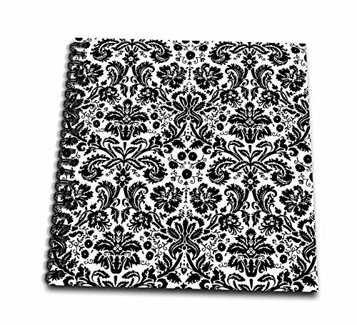 3dRose db_151441_2 Black and White Damask Stylish Swirling French Floral Vintage Modern Elegant Wallpaper Swirls Memory Book, 12 by (Swirl Vintage Wallpaper)